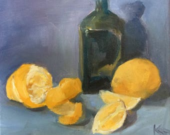 Lemon, peel and bottle