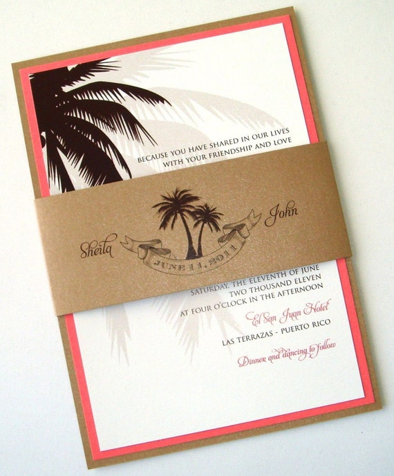 Beach Wedding Invitation Wording: Beach Wedding Invitation Palm Tree Invitation Destination
