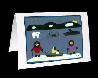 "Inuit Greeting Card #2 ""Riding a New Skidoo"" by Annie Aculiak"