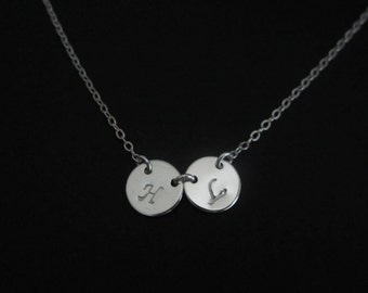 Sterling Silver Initial Necklace. 1.2.3.4.5.6 Initial Necklace. Layering Necklace. Friendship. Sisters. Mom Jewelry. Hand Stamped Pendant.