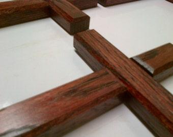 Wall Cross 8 Inch Oak Red Mahogany Finish ( Small ) 5x8