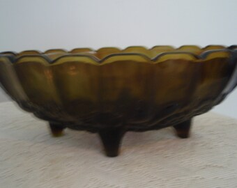 Green Glass Bowl, Large Green fruit bowl, Vintage Green Glass bowl with Impressed fruit,Footed green glass bowl, Large serving Bowl