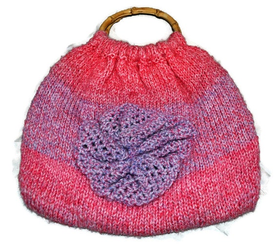 Handknitted Pink and Purple Tote Bag with Bamboo Handles