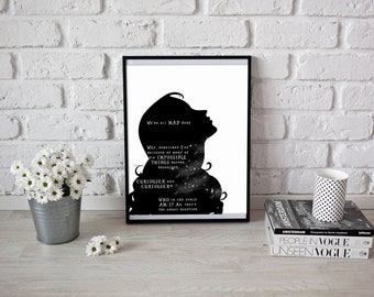 Alice in Wonderland Silhouette Art Print, We're All Mad Here, Six Impossible Things Before Breakfast, Instant Digital Download