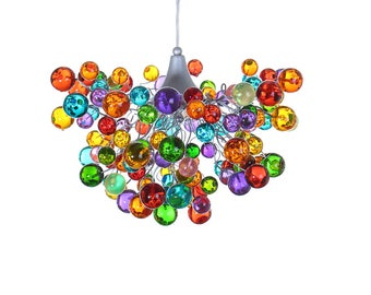 Multicolor light -bubbles lighting fixtures, hanging lamp with different size of bubbles for children room or dining room.
