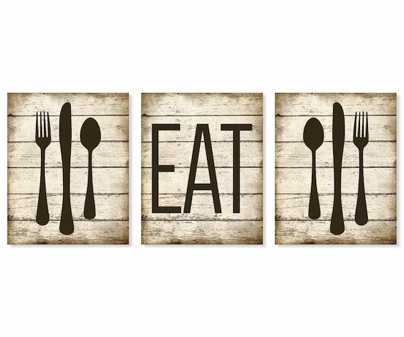 Eat Art Print Rustic 'Faux' Wood Fork Spoon Knife