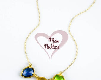 Custom Birthstone Necklace for mom, personalized mom necklace birthstone, Family necklace for grandmother jewelry, Christmas gifts for mom