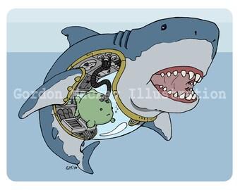 Fish and Shark Robot Illustration Print