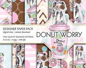 Donuts and Coffee Paper Pack Bakery Patterns Takeaway Coffee Cups Donut Worry Fashion Watercolor Illustration Life Planner Stickers Supplies