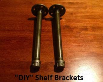 "Black Pipe Shelf Brackets, SET of 2- 1/2"" X 4"", 5"", 6"", 7"",8"", 9"", 10"", 11"", 12"", 18"" or 24"" ""DIY"" Parts Kit, ***SAVE 30% -Easy Project"