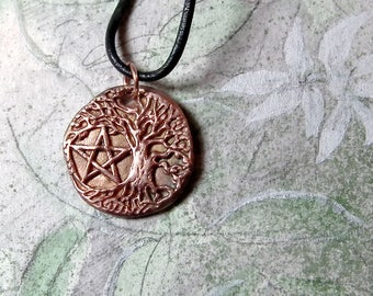 Unisex pendant, copper Yggdrasil, the celtic tree of life+pentagramm on a  black leather strap ( in silvercolor or goldcolor bronze too)