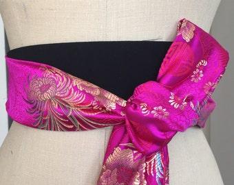 Asian brocade obi belt, modern obi sash, pink fuscia satin sash, black pink obi belt sash , waist cincher obi