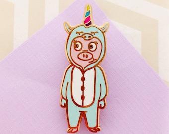 Piggie Unicorn Hard Enamel Pin