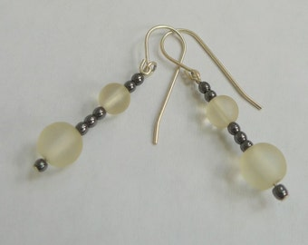 Frosted Glass and Hematite Dangle Earrings