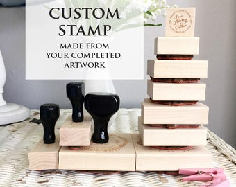Your Custom stamp, Business Stamp, Wedding Stamp Image or Wedding Favor Image turned into a wooden stamp (handle sold separately)