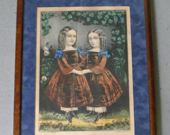 """Currier and Ives framed lithograph """"The Little Sisters"""""""