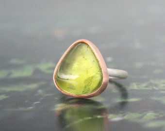 6 hoja mineral | huge green tourmaline cabochon gemstone ring | raw copper bezel + recycled sterling silver | minimal OOAK