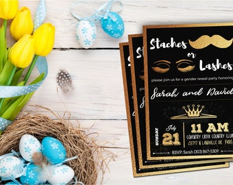 Staches or Lashes, Gender Reveal Invitation, Gender Reveal Party, Gender Reveal Invite, Digital Download