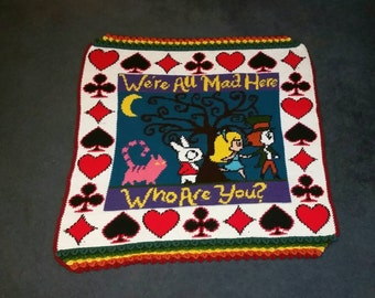 Crochet Alice in Wonderland Throw Blanket