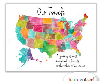 Large printable Our Family Travels lets get lost USA