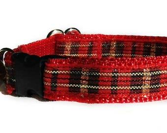Christmas Cat Collar / Plaid Cat Collar / Christmas Kitten Collar / Red Cat Collar / Breakaway Cat Collar / Dog Collar / Puppy Collars