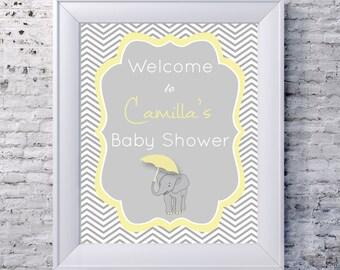 Baby Shower Welcome Sign printable - custom, yellow, grey, chevron, elephant, personalised