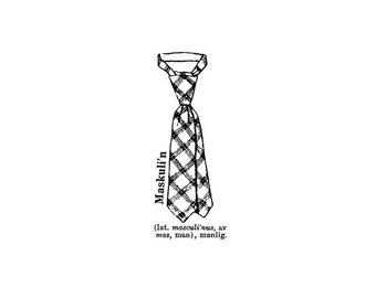 EZ Mounted Rubber Stamp Retro Style Tie Dictionary Text Masculin Man Altered Art Craft Scrapbooking Cardmaking Collage Supply.