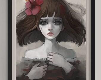 "Hibiscus - Original Art Print (A3/11.7""x16.5"")"