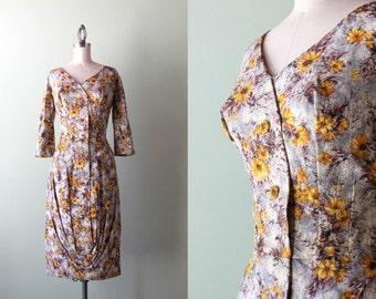 50s dress / vintage 1950s silk couture dress / 50s bombshell wiggle dress