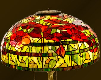 Stained Glass Poppy, Table Lamp, Lampshade, Stained Glass Shade, Lamp Desk, Stained Glass Art, Standing Lamp, Stained Glass Table Lamp