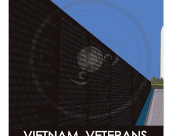 MCM modern WPA Style Poster, Vietnam Veterans Memorial Wall, Art, Decor