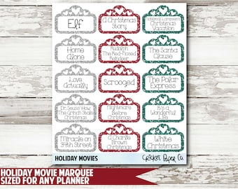 Holiday Movie Marquee Functional Planner Stickers