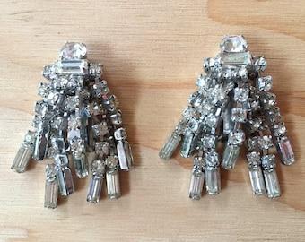 Stunning Rhinestone Waterfall Clip Earrings