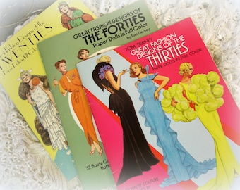 instant collection 3 vintage DOVER tom tierney great fashion designs paper dolls by tom tierney UNCUT like NEW