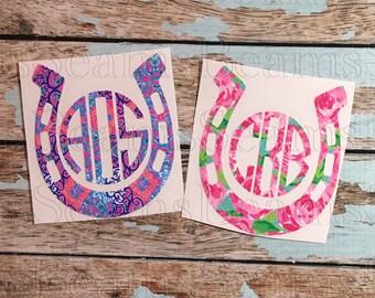 Yeti tumbler lilly pulitzer inspired monogram horseshoe decal, yeti rambler monogram, yeti decal, yeti cup monogram, horseshoe monogram