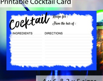PRINTABLE Cocktail Card - 4 x 6 & 3 x 5 size - Petrol Blue