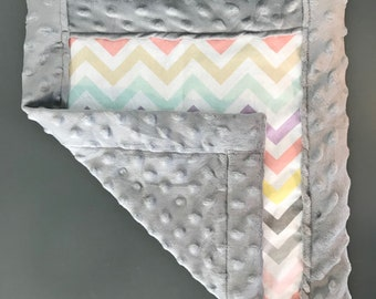 Pink and Gray Chevron Baby Lovey Blankie, Baby Blanket, Baby Cuddle Blanket, Pacifier Blanket