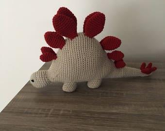 Handmade crochet stegosaurus dinosaur plush amigurumi doll