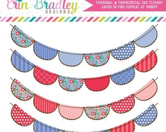 80% OFF SALE Cornflower Blue and Red Flowers Bunting Flags Clipart Clip Art for Personal & Commercial Use