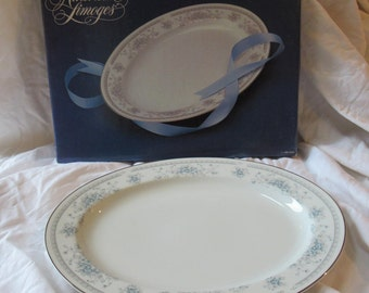 "Vintage AMERICAN LIMOGES ""Bridal Bouquet""  Pattern 14""  Oval Platter - New Old Stock"