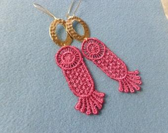Salmon pink dangle earrings, lace earrings, pink gold earrings