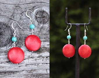 Handmade Coral, Turquoise and Silver Earrings