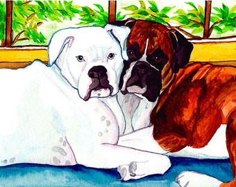 Boxer Dogs Signed Dog Art PRINT of Original Painting Artwork by Vern Different Sizes Available