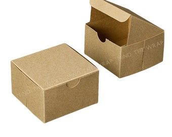 25 - Kraft Gift Boxes - 4 x 4 x 2.5 inches - Food Safe Packaging - Gifts Favors Cookies Candy Baked Goods