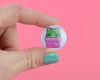 BUTTON KAWAII KITTY Cactus Plant - 1 Inch 2,5 cm 25 mm Pin Pinback Button Badge Cute Motive