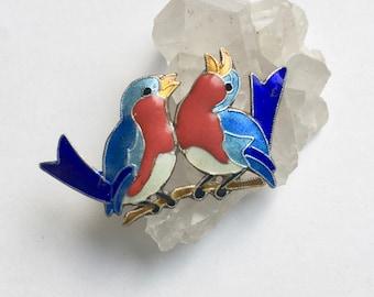 vintage sterling enamel bluebird brooch