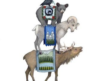 8x10 Giclee Illustrated Print of Canadian Alpine Animals