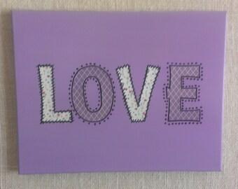 Purple Love Canvas Wall Art with Purple and Turquoise Decorative Paper Teen Canvas Art Teen Decor Nursery Decor Baby Decor