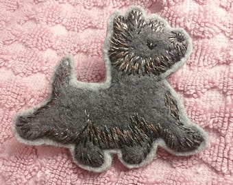 Hand Embroidered Felted Toto Cairn Brooch