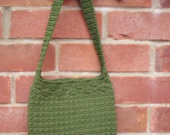 Small Crochet Green Shoulder Bag, Green Handbag, Green Tote, Green Purse, Corde Handbag, Crochet Handbag